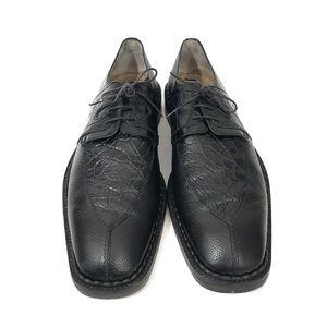 Martegani Crocodile 11 M Derby Oxford Black Shoes